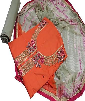 Women S Cotton Orange And Grey Colour Combination Dress