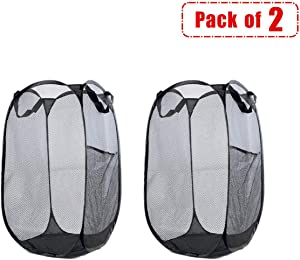 Encozy 2 Strong Mesh Pop-up Laundry Hamper,Quality Laundry Basket with Portable,Durable Handles Solid Bottom Side Pocket Enlarged Opening (Black)