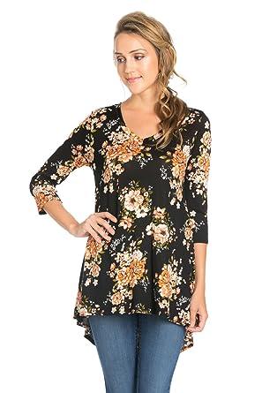 b189b8158c8 Frumos Womens Tunic Top For Leggings High Low T-Shirts Black Flower Medium  at Amazon Women's Clothing store: