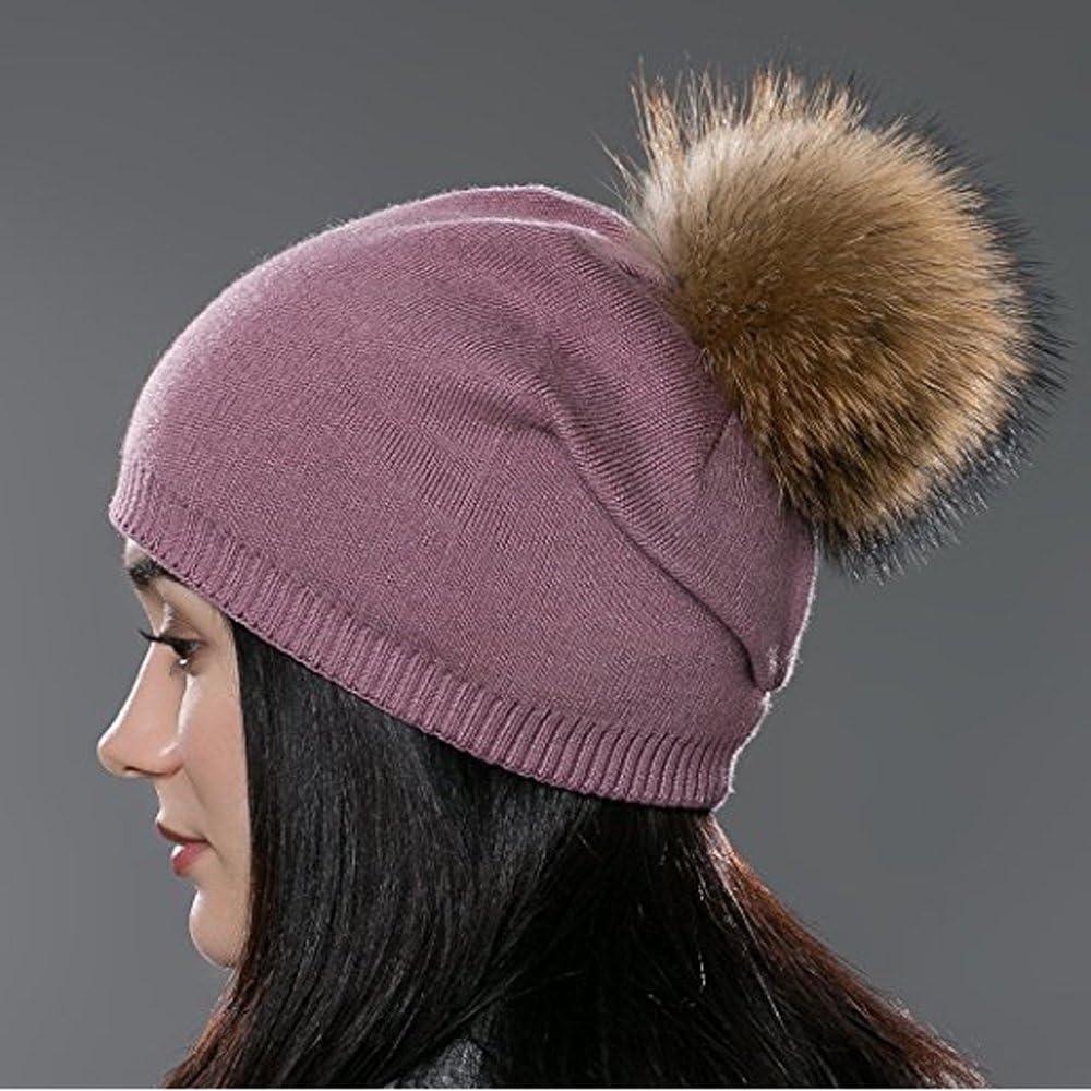 HL19 Miuno/® Bonnet /à pompon en fourrure synth/étique Chaud En tricot Pour lhiver