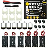 EUDAX 6 set Rectangular Mini Electric 1.5-3V 24000RPM DC Motor with 84 Pcs Plastic Gears,Electronic wire, 2 x AA Battery Holder ,Motor Mounting Bracket,Boat Rocker Switch for DIY Science Projects