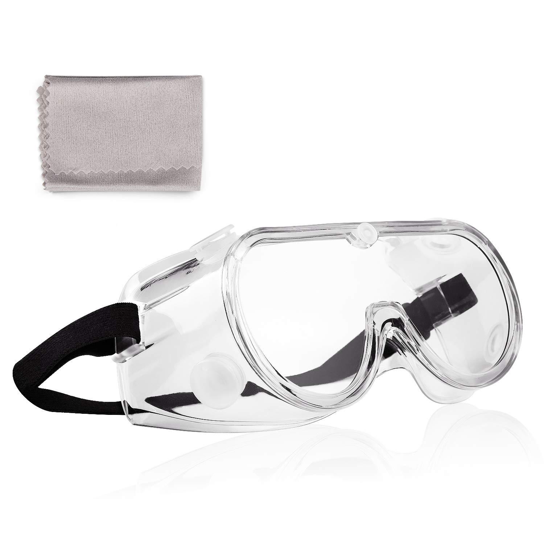 Deyard 1 Piezas Gafas de Seguridad Lentes Resistentes a Salpicaduras Válvulas Transpirables Antivaho, Gafas con Pieza de Nariz Suave, Peso Ligero y cómodo de Llevar