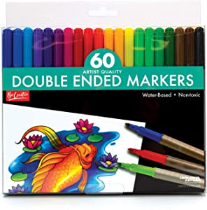 60 Pack Artist Quality Double Ended Markers - Water-Based - Non-Toxic-Precision and Broad Bullet Tips
