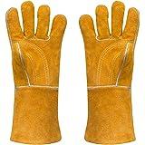 Guante de cuero para soldar 400F largo gruesos resistente al calor guantes para cocinar cocina Camping barbacoa guantes de horno grande 14