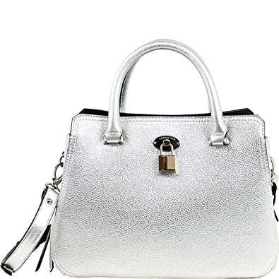 London Fog Womens Kate Signature Convertible Satchel Handbag Silver