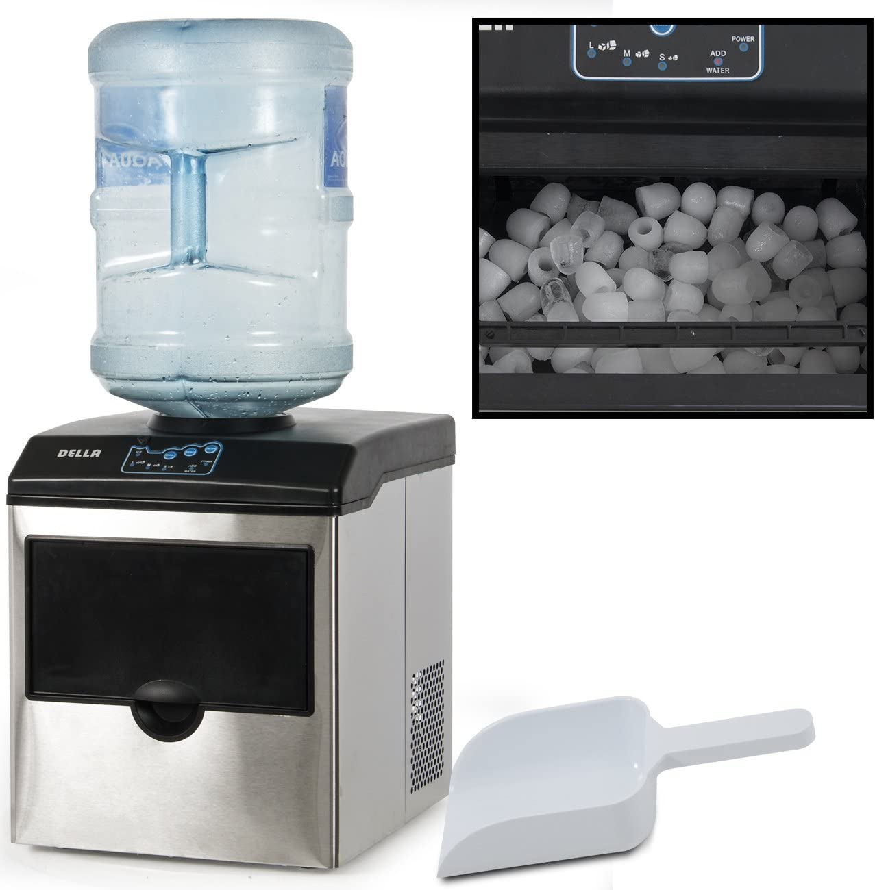 Della Freestanding 2in1 Water Dispenser W Built In Ice Maker Machine Countertop Up To 40lbs Stainless Steel Appliances
