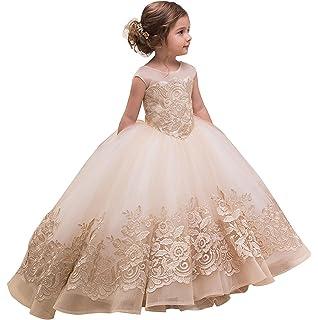 25939b19a3 yeoyaw elegante apliques de encaje mangas V-Back flor de tul niña vestidos  de Comunión