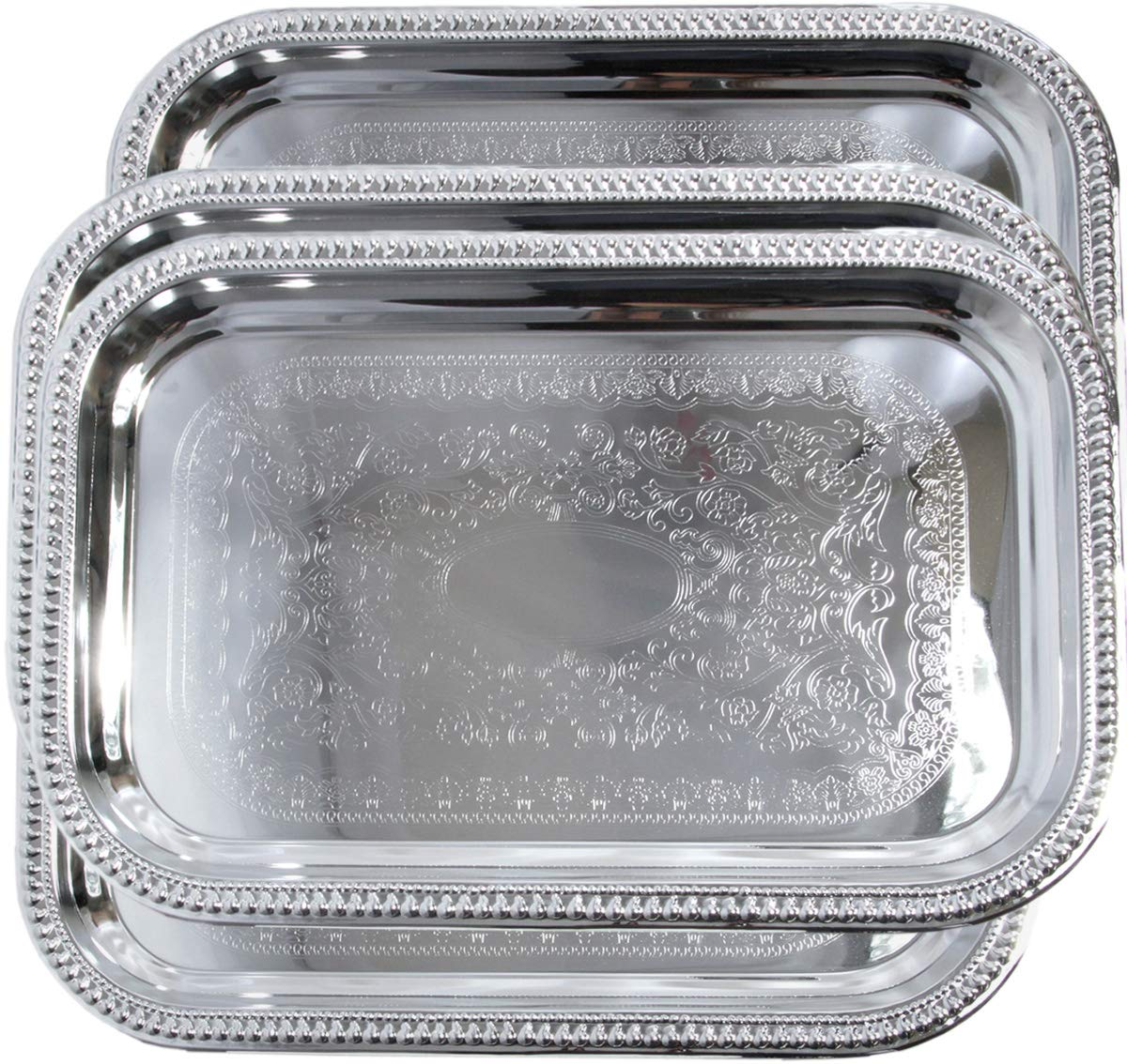 Maro Megastore 18.2'' x 12.4'' Oblong Rectangular Trim Floral Pattern Engraved Catering Chrome Plated Serving Plate Mirror Deco Tray Platter Tableware Party Food Multi-Purpose (Medium) T156M-4PK