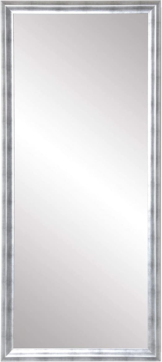 Amazon Com Brandtworks Modern Brushed Silver Leaning Floor Mirror