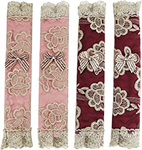 KEFAN 2 Pairs Refrigerator Handle Covers Kitchen Appliance Protective Gloves Anti-Slip Decor for Ovens Microwaves (Embroidery lace)