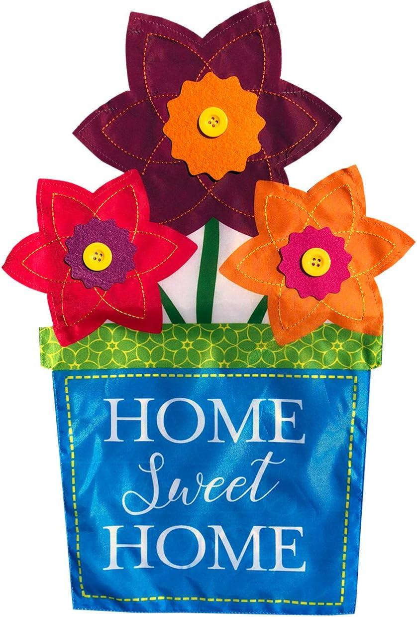 "Briarwood Lane Flower Pot Applique Spring Garden Flag Home Sweet Home Floral 12.5"" x 18"""