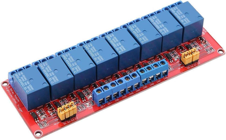 PUSOKEI Módulo de relé de 8 Canales, Placa roja 5V / 12V / 24V Placa de módulo de relé optoacoplador de 8 Canales Disparador Alto y bajo con luz indicadora(24V)
