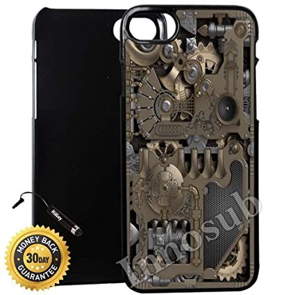 Custom Iphone 7 Plus Case Steampunk Mechanical Gears Edge To Edge Plastic Black Cover With Shock And Scratch Protection Lightweight Ultra Slim
