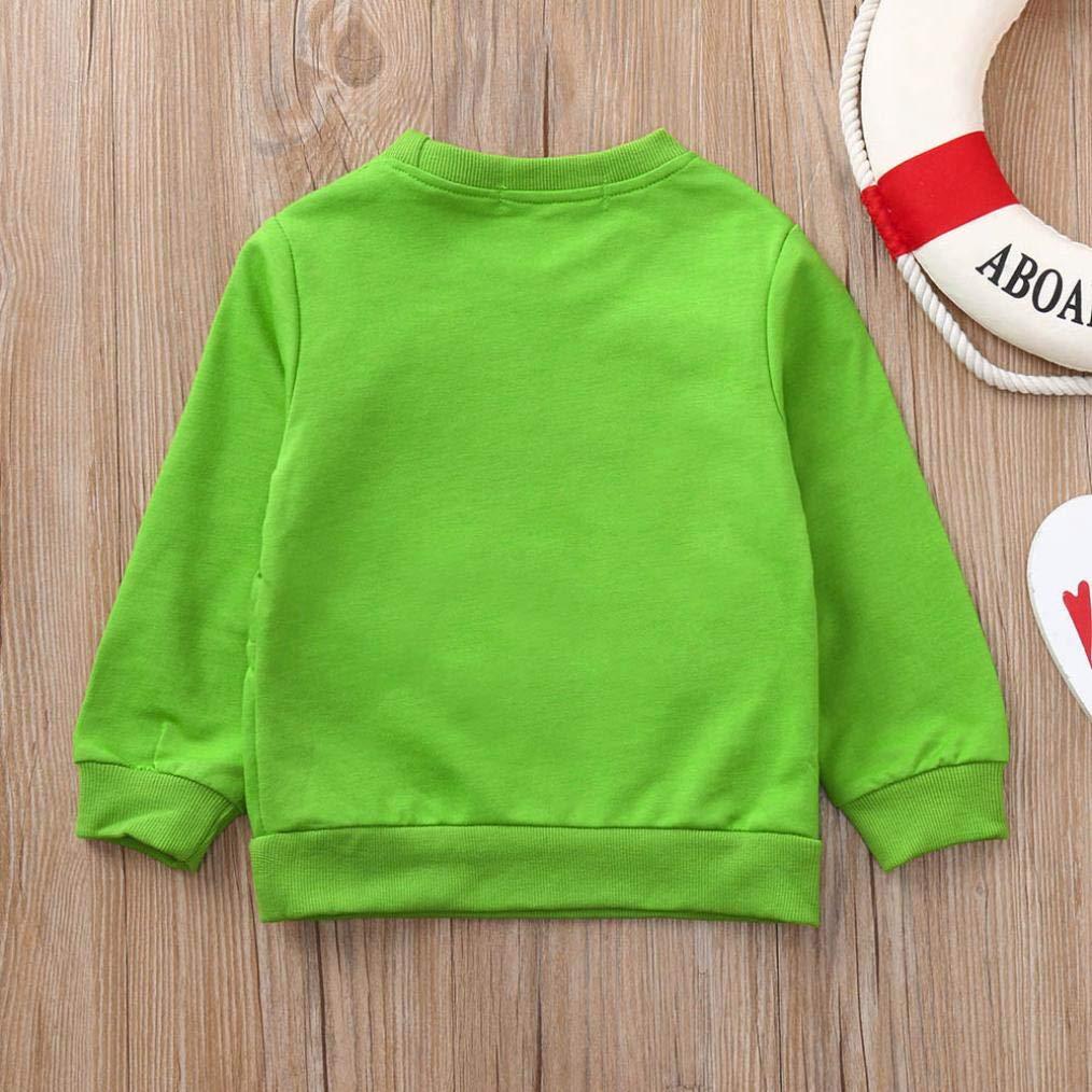 QinMM Camiseta Sudadera de Cartoon de beb/é ni/ña y ni/ño con Bolsillo Tops de Manga Larga de algod/ón