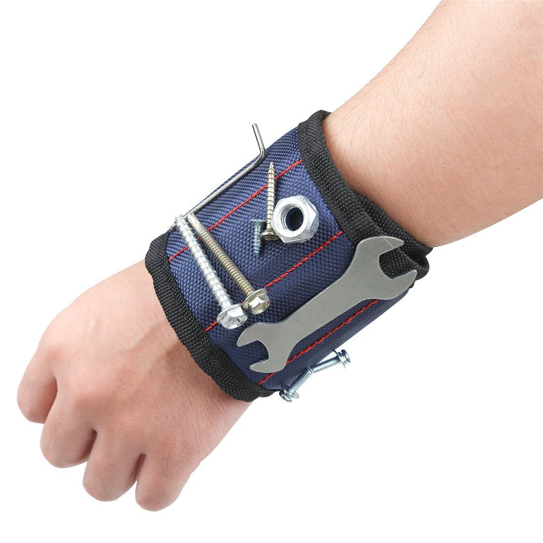 Heavy Duty Magnetic Wristband with Super Strong Magnets for Holding Screws, Nails, Drill Bits Royal Blue