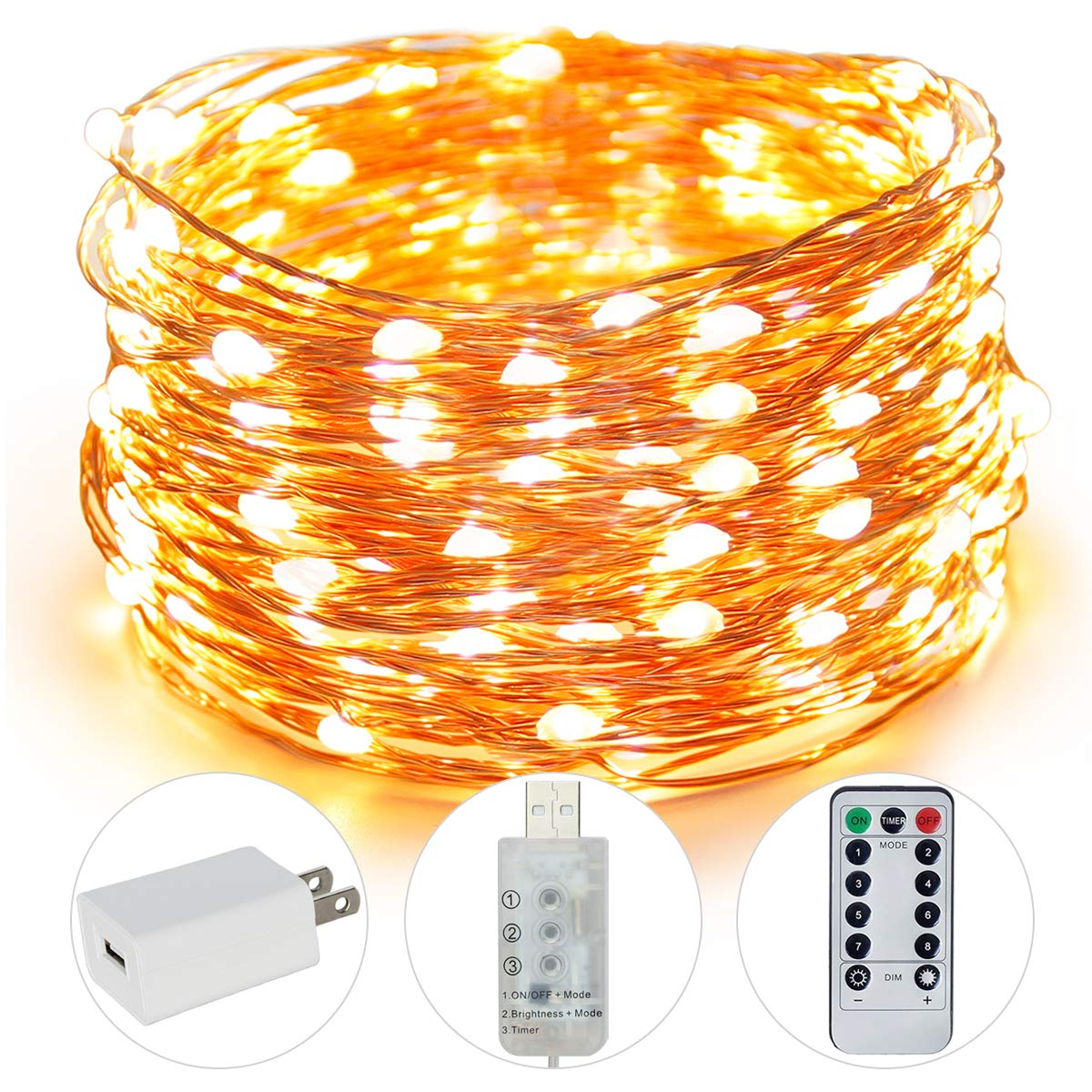 Fairy Lights, 100 LED 33FT USB Indoor String Lights with Remote Timer Adapter, String LED Lights for Christmas, Party, Holidays, Garden, Wedding, Indoor, and Outdoor Decoration (Warm White)