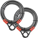 BV 30FT Security Steel Cable with Loops, Braided Steel Flex Cable, Lock Cable 3/8 Inch, for U-Lock and Padlock (Set of 2)
