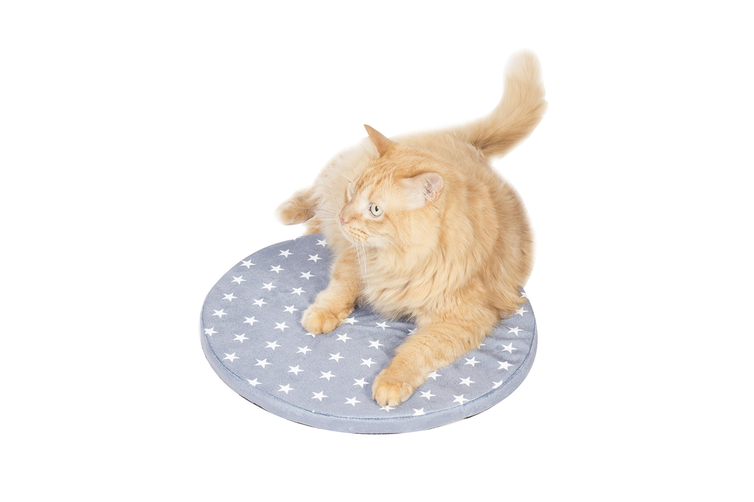 """Tabby James Kitty Nap Pad - The Circle That Your Cat Will Love - Cat Bed for Everyday Cat Naps (Dark Grey), 15"""" Diameter, Prevents Fur on Couch, Washable Cover"""
