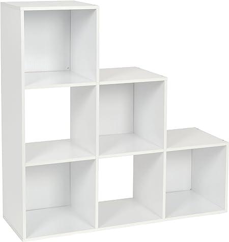 ts-ideen Estantería en Escalera Librero CD-DVD Madera Blanco 90 x 90 cm: Amazon.es: Hogar