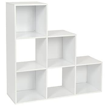 Bücherregal weiß design  ts-ideen Stufenregal Design Regal 6 Fächer Standregal Bücherregal ...