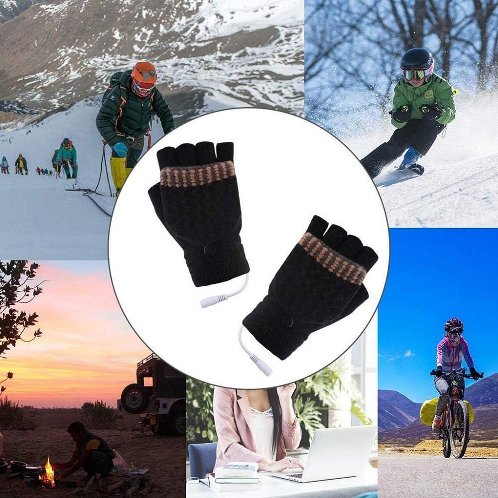 Cocila Unisex USB beheizte F/äustlinge Herren Damen Strickhandschuhe Winter Warm Riding Cycling Drove Handschuhe Freizeithandschuhe ohne Finger