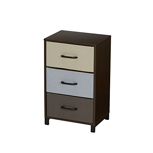 Household Essentials 8013-1 Wooden 3 Drawer Dresser Storage Night Stand Mahoganey