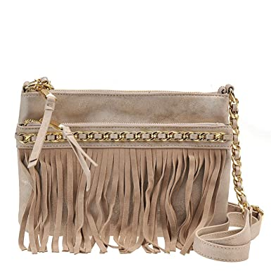 Jessica Simpson Tyra Fringe Crossbody, Blush Pink: Handbags ...