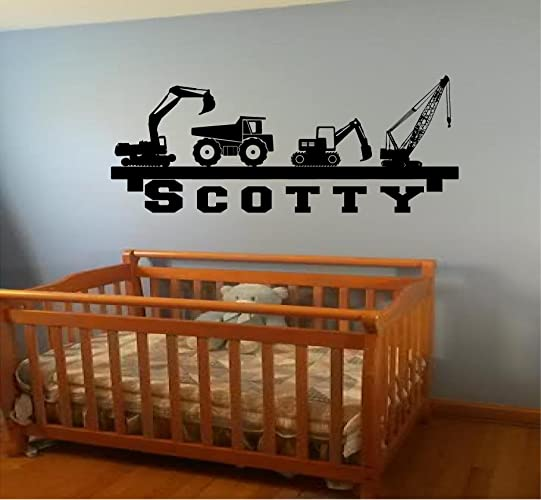 Amazon Com Flash Sale Boy S Room Wall Shelf Name Construction Crane