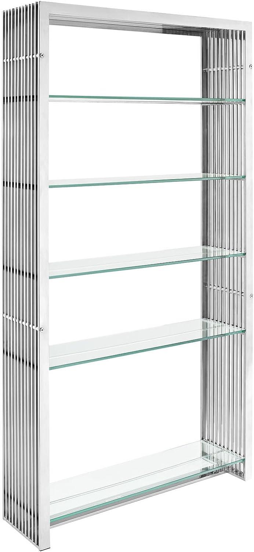 Modway Gridiron Stainless Steel Bookshelf in Silver