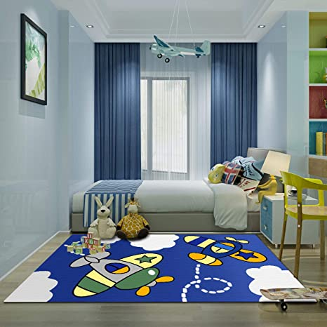 Kid Bedroom Rug, 4\'x 6\' YAMTION Boys and Girls Area Rug, Large Blue and  White Soft Children Carpet, Non Slip Indoor Airplane Cartoon Rugs for  Living ...