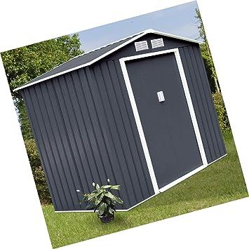 Herramienta de almacenamiento para jardín, puerta corredera de acero gris oscuro de 7 x 4 pies para exteriores: Amazon.es: Bricolaje y herramientas