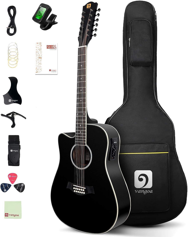 Vangoa 4/4 Guitarra de 12 cuerdas para Zurdos Electroacústicas Guitarra con Ecualizador de 4 bandas, Kits de Principiantes, Negro