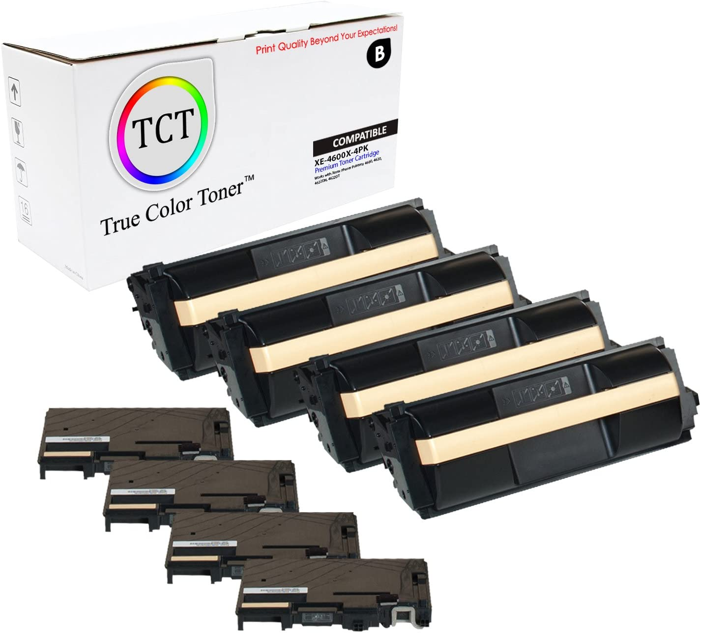 4 Pack TCT Premium Compatible Toner Cartridge Replacement for Xerox 106R01535 Black Extra High Yield Works with Xerox Phaser 4600 4600N 4600DN 4600DT Printers 30,000 Pages