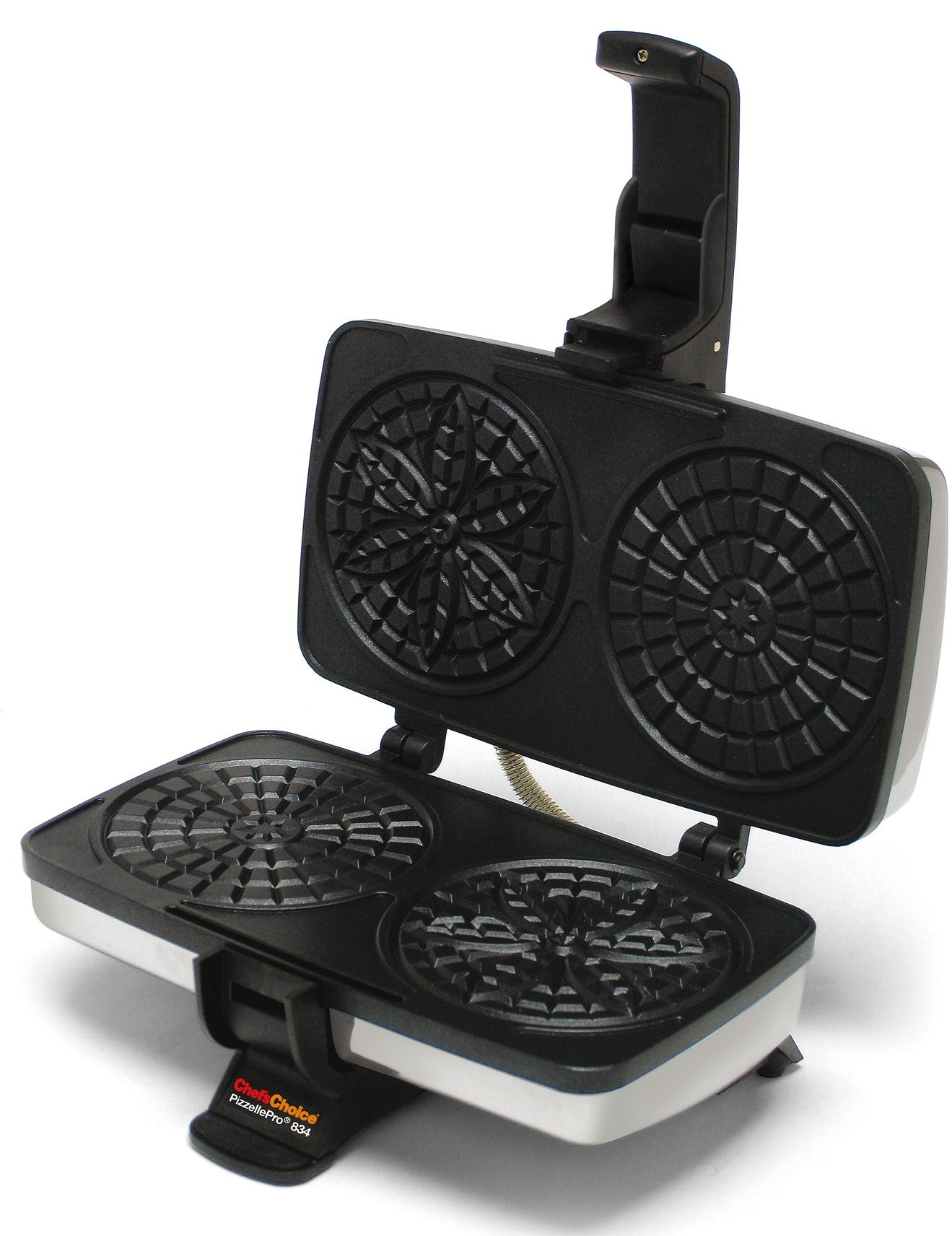 Chef'sChoice 834 PizzellePro Toscano Nonstick Pizzelle Maker Features Baking Indicator Light Consistent Even Heat Press Delicious Pizzelles in Seconds, 2-Slice, Silver (Renewed) by Chef'sChoice