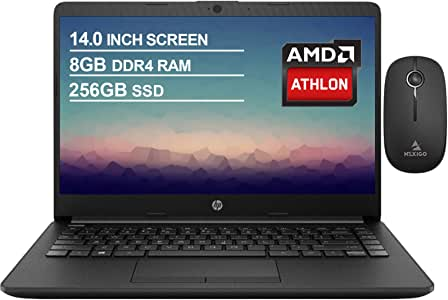 2021 Newest HP 14 Inch Non-Touch Premium Laptop, AMD Athlon Silver 3050U up to 3.2 GHz, 8GB DDR4 RAM, 256GB SSD, WiFi, HDMI, Windows 10 in S, Jet Black + NexiGo Wireless Mouse Bundle