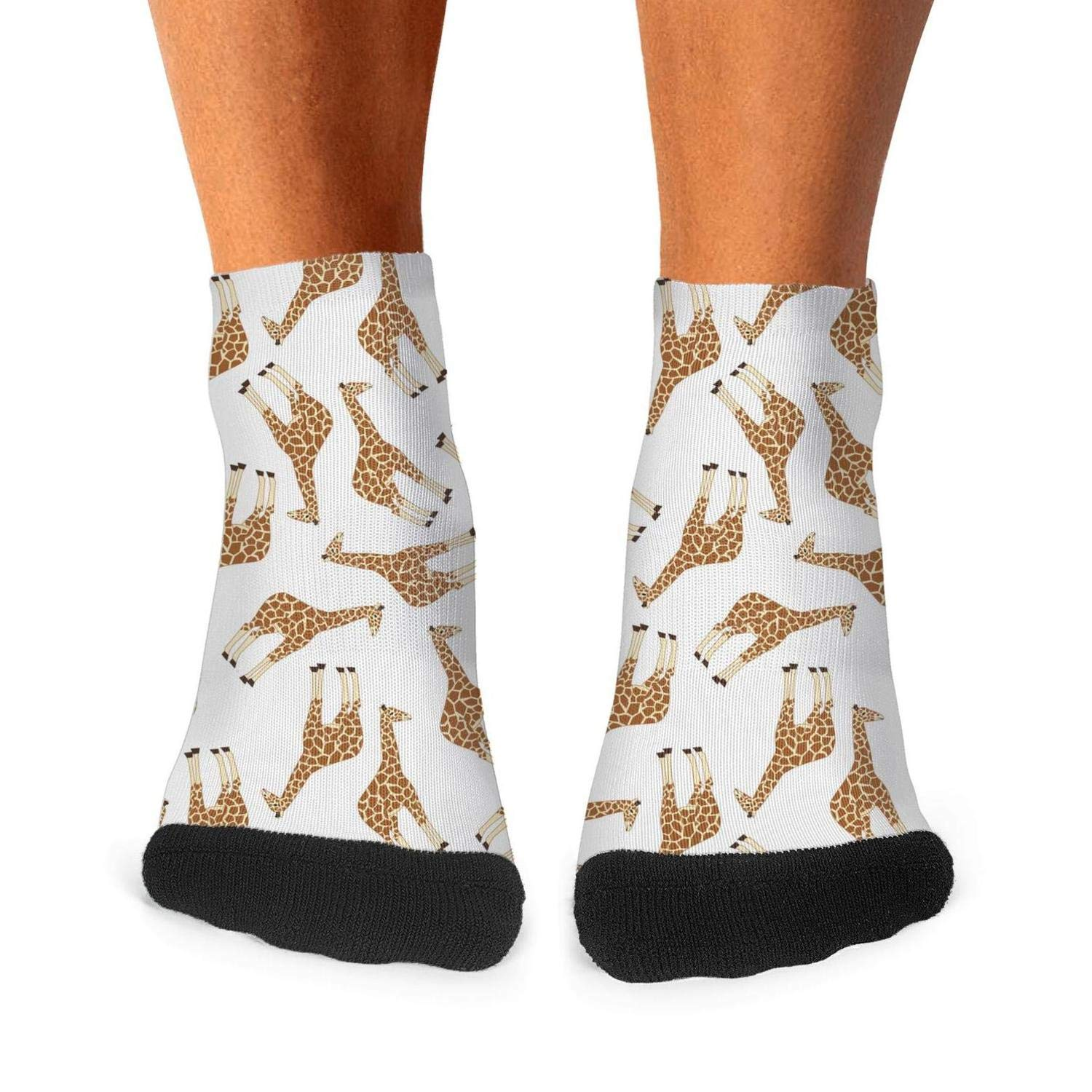 Mens Athletic Low Cut Ankle Sock Animal Giraffe Gifts White Background Short Outdoor Sock