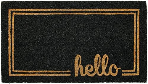 mDesign Rectangular Coir and Rubber Entryway Welcome Doormat with Natural Fibers for Indoor or Outdoor Use – Decorative Script Hello Design – Black Natural