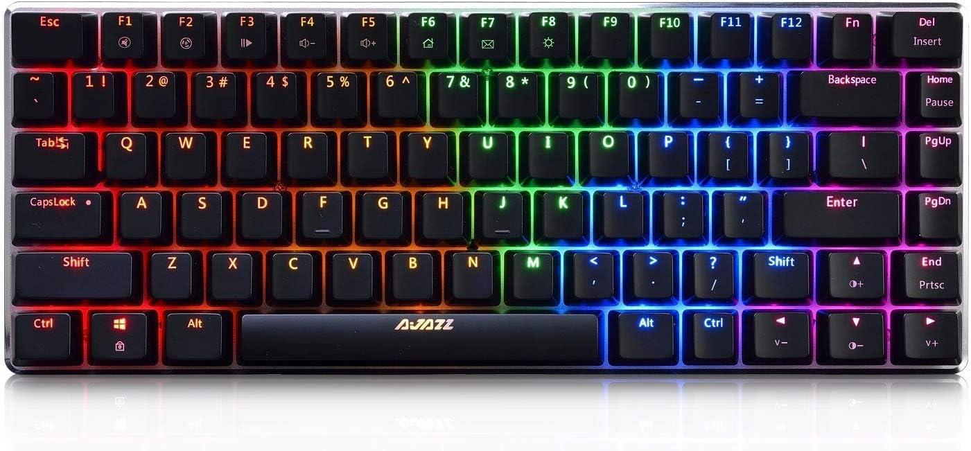 Epomaker Ajazz AK33 82 Teclas Teclado Mecánico Bluetooth con Interruptores Azules RGB Retroiluminado para Gamer, Programador, Oficina, Trabajo para ...