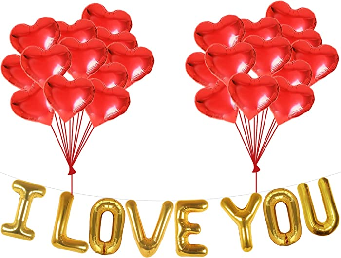I Love You Balloons and Heart Balloons Kit - Pack of 28 - Valentines Day Decorations for Party | Valentines Day Balloons | Valentine Balloons | Pack of 10 Foil Mylar Red Heart Shaped Balloons 18 Inch