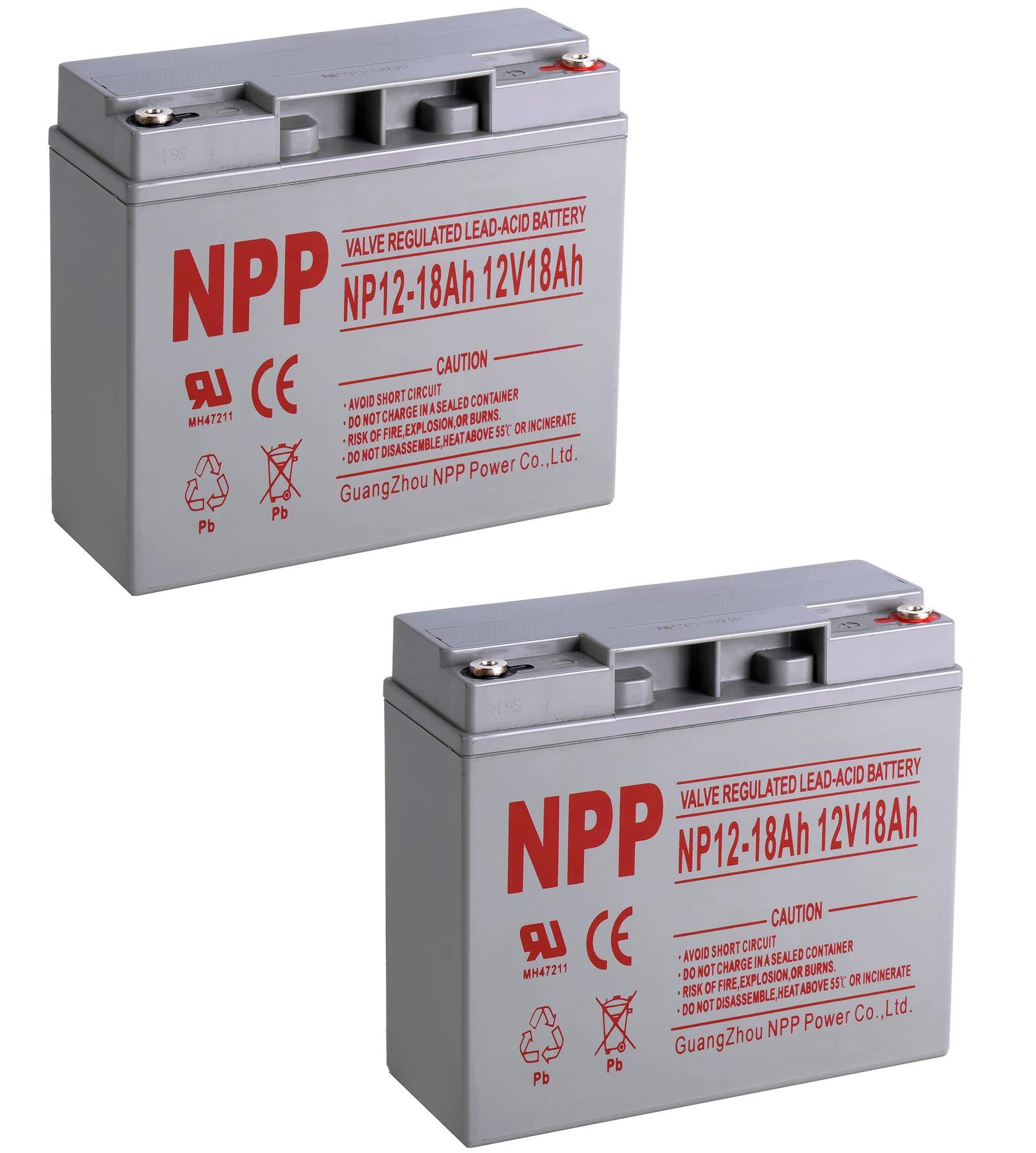 NPP 12V 18Ah 12Volt 18 amp Rechargeable Sealed Lead Acid Battery Wiht APC UPS Power Wheels Landscaping Equipment Button Terminal / (2pcs)