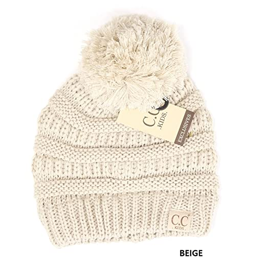 Amazon.com  CC Kids Pom Pom Beanie Winter Hat Cute Warm Knit Hat ... 60b3baac767e