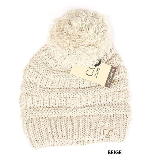91ff8a1d54956 Amazon.com  CC Kids Pom Pom Beanie Winter Hat Cute Warm Knit Hat ...