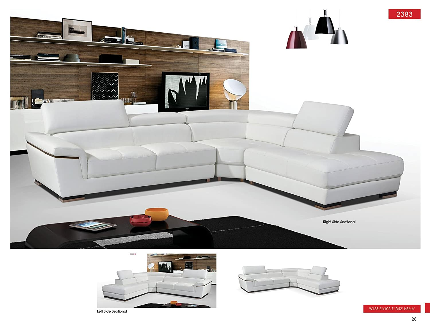 Amazon.com: ESF 2383 White Genuine Leather Sectional Sofa: Kitchen & Dining