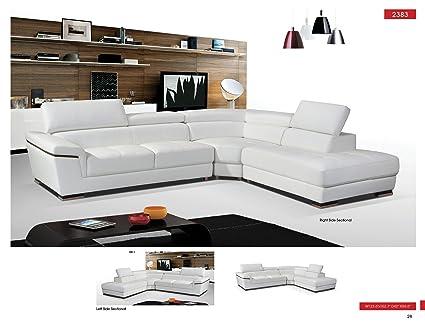 Amazon Com Esf 2383 White Genuine Leather Sectional Sofa Kitchen