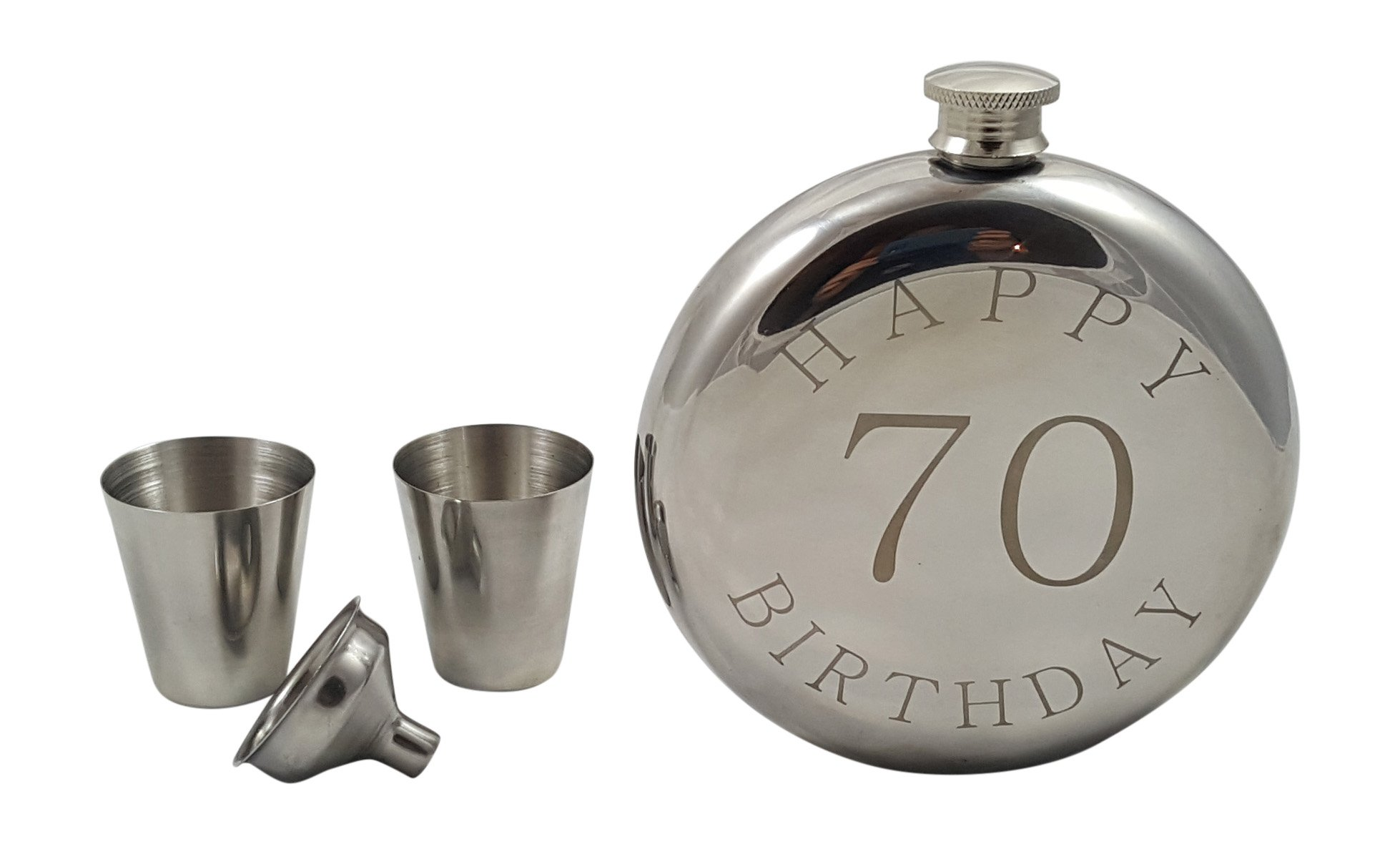 Palm City Products Happy 70th Birthday Flask Gift Set by Palm City Products (Image #2)