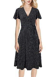 070709a315d VFSHOW Womens Elegant V Neck Pockets Cocktail Casual Party Wrap A-Line Dress