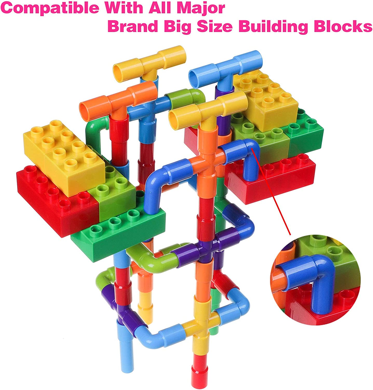 128 Pieces Playlearn Large Size Pipe Tube Blocks for Kids Fine Motor STEM Toy for All Ages