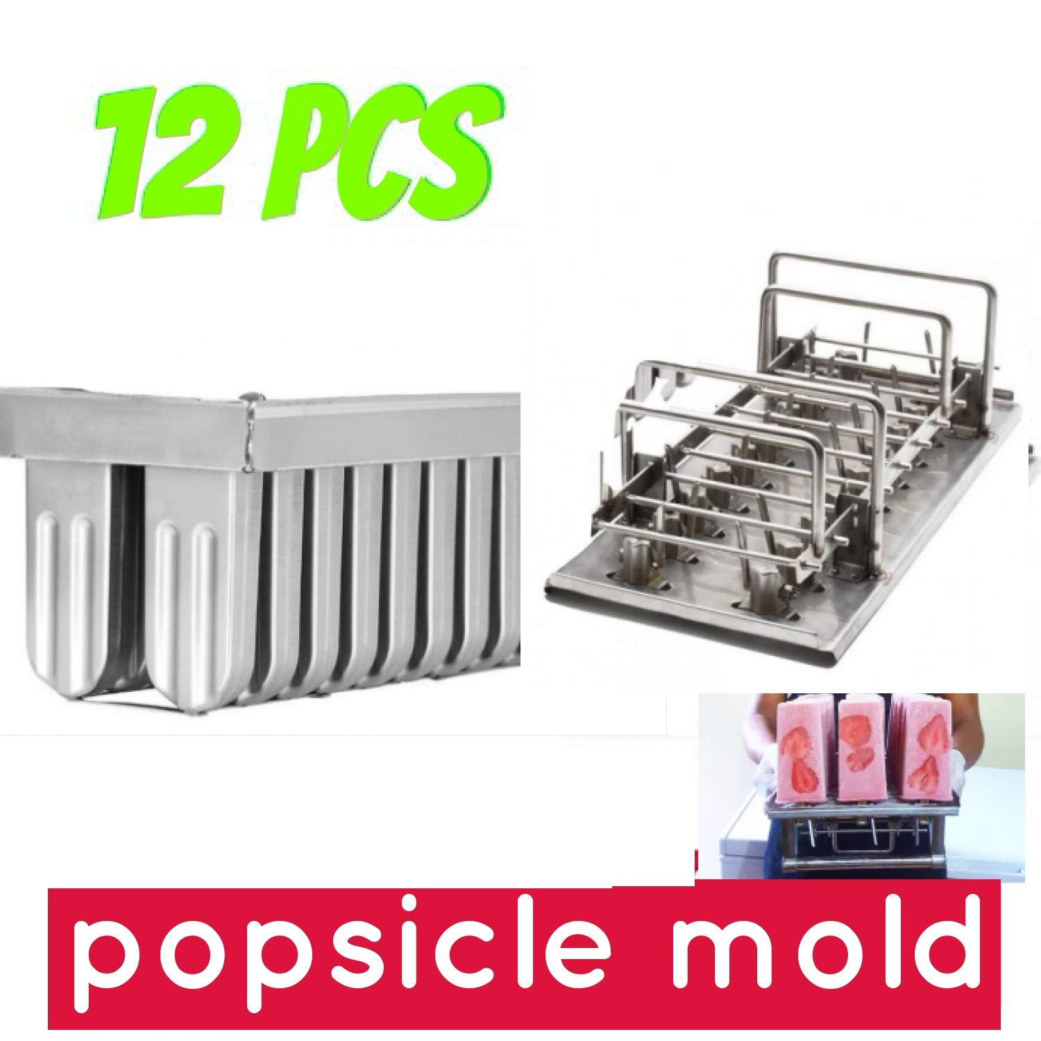 12pcs stainless steel popsicle mold machine -ice pop molds bpa free -ice Cream Mold pop molds ice pop molds stainless steel-ice pop maker molds Ice Cream Stick Holder(,12 cavity mold) by pizety