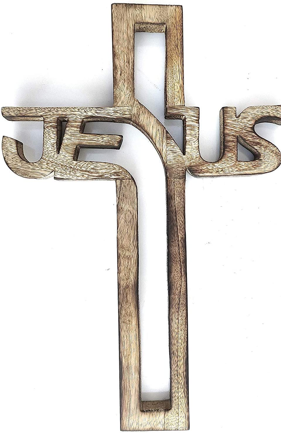 Earthly Home Christian Wooden Wall Cross Handmade Antique Design French Plaque Hanging Wall Crucifix Jesus Christ Hanging Cross for Wall Decor, Church Hanging Ornament, Living Room Home Chapel Decor