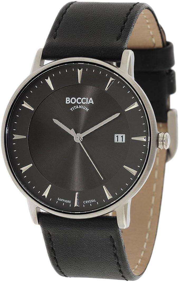 Boccia Reloj Digital para Hombre de Cuarzo con Correa en Cuero 3607-01